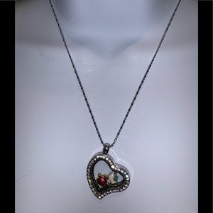 - Heart Locket Necklace Small turtle charm G…
